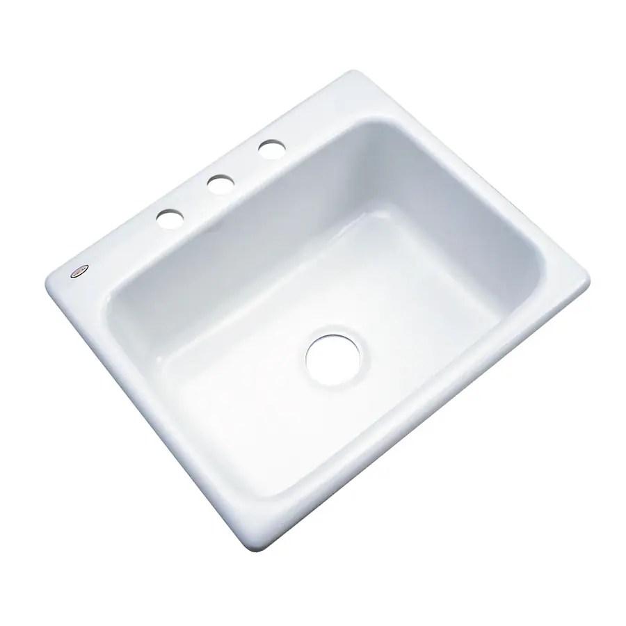 dekor master drop in 25 in x 22 in white single bowl 3 hole kitchen sink
