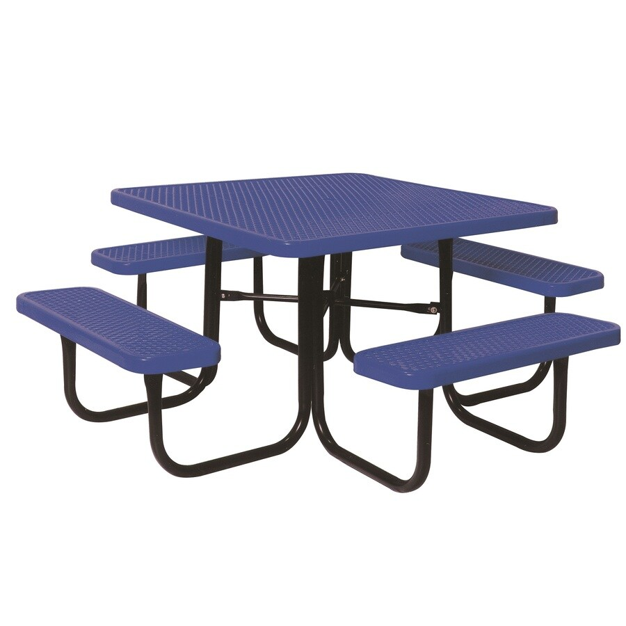 Ultra Play 46 In Blue Steel Square Picnic Table At Lowes Com