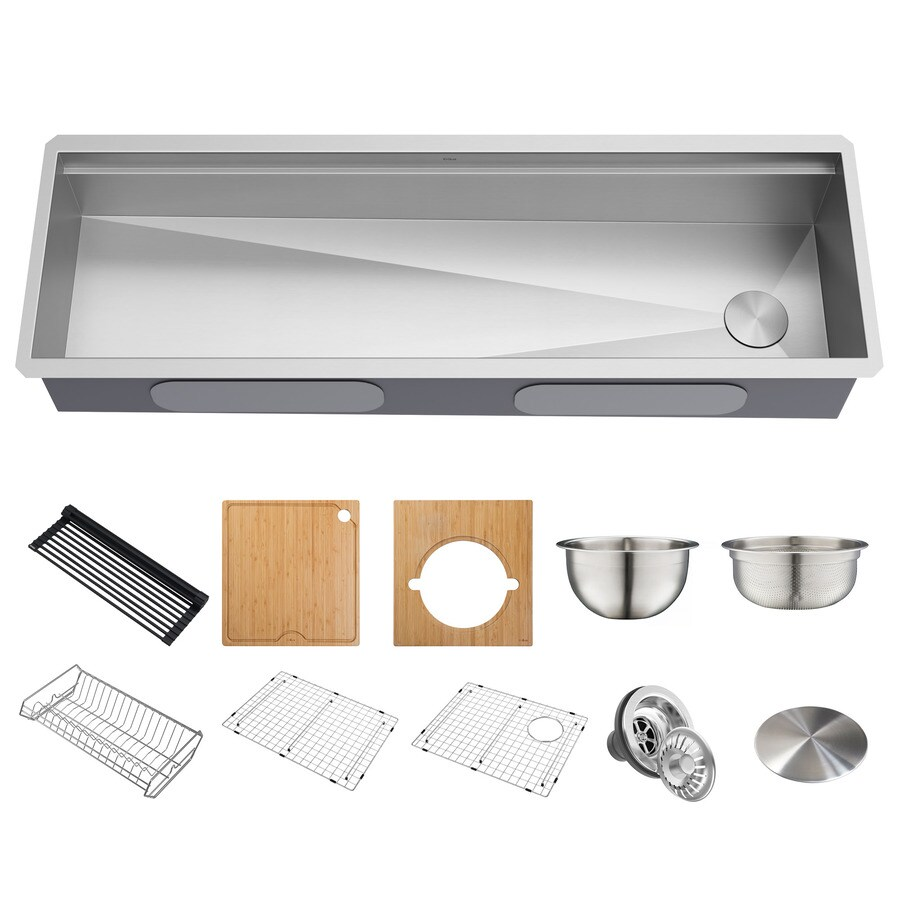kraus kore workstation undermount 57 in x 19 in stainless steel single bowl workstation kitchen sink all in one kit