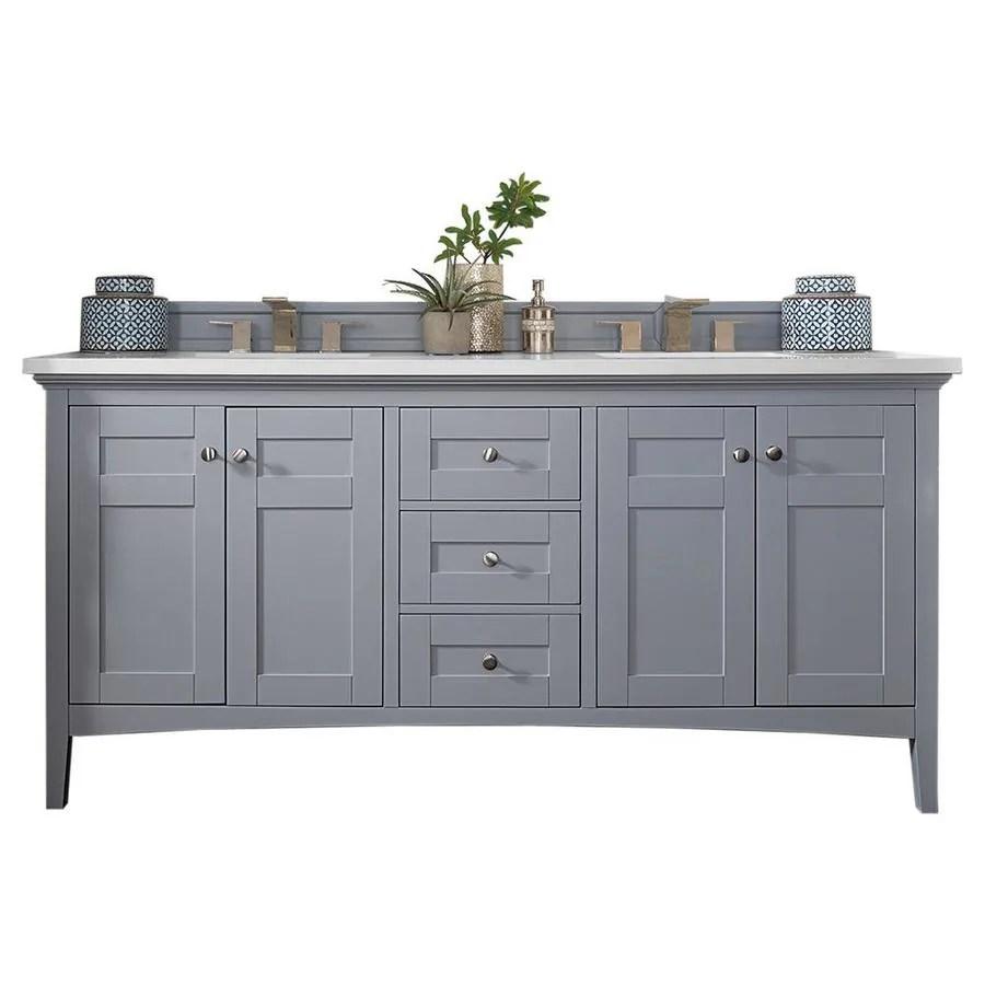 james martin vanities palisades 72 in silver gray undermount double sink bathroom vanity with classic white quartz top