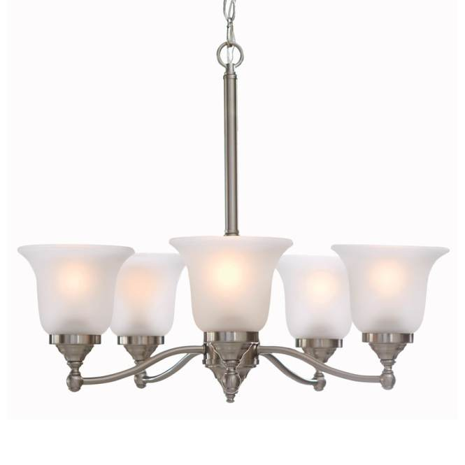 Portfolio Roseall 22 97 In 5 Light Brushed Nickel Etched Glass Shaded Chandelier