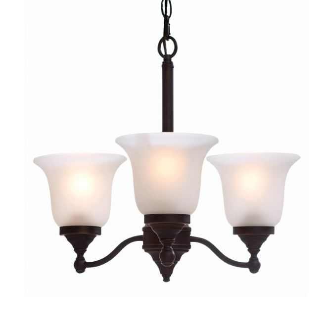 Portfolio Roseall 19 2 In 3 Light Oil Rubbed Bronze Etched Glass Shaded Chandelier