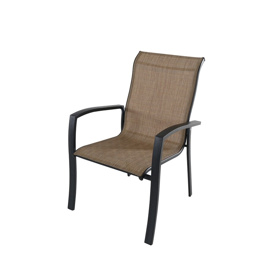 style selections pelham bay stackable black metal frame stationary dining chair s with tan sling seat lowes com