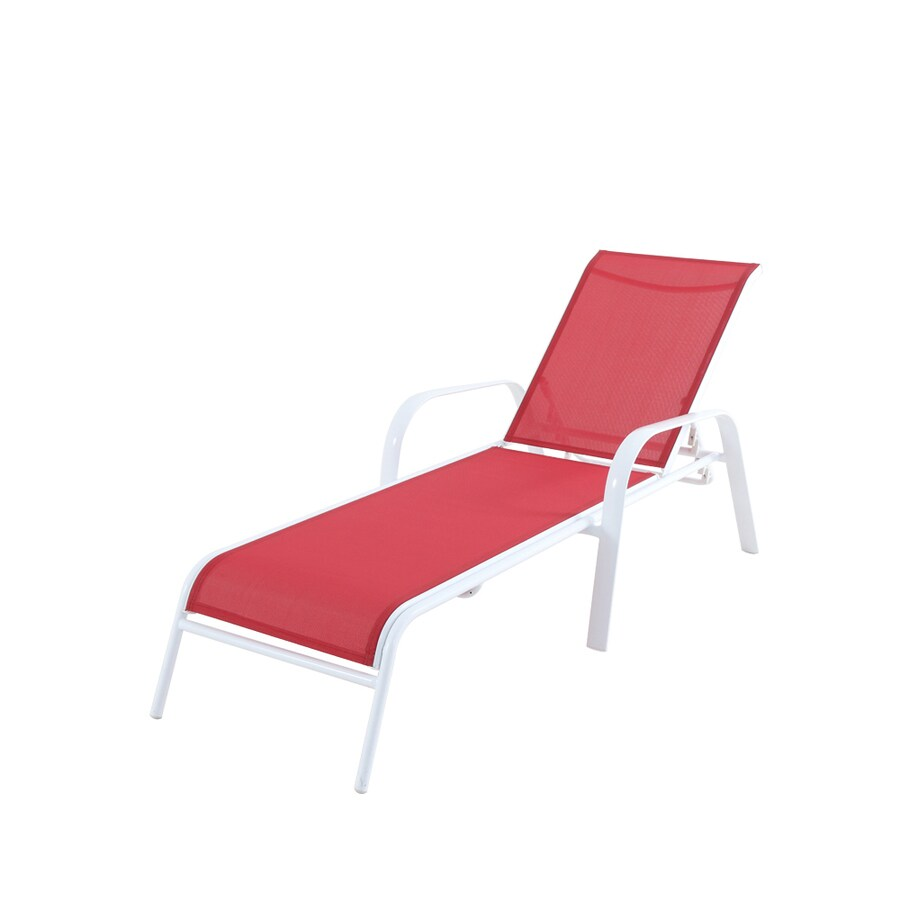 allen roth truxton stackable white metal frame stationary chaise lounge chair s with red sling seat
