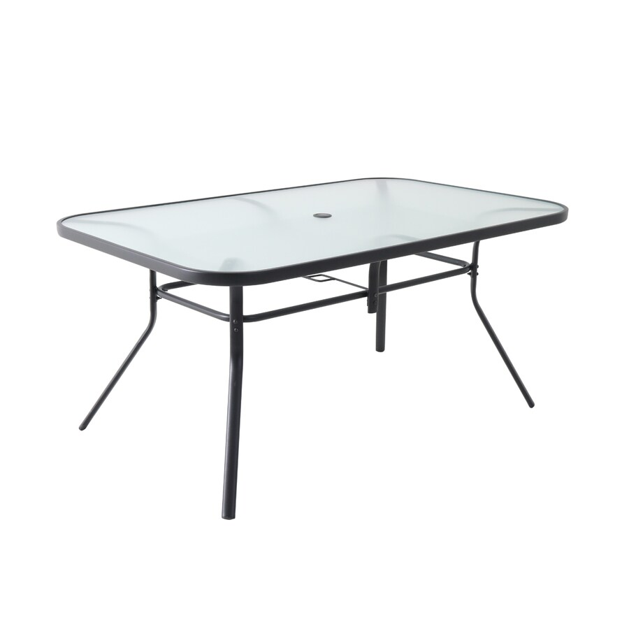 garden treasures pelham bay rectangle outdoor dining table 38 in w x 60 in l with umbrella hole