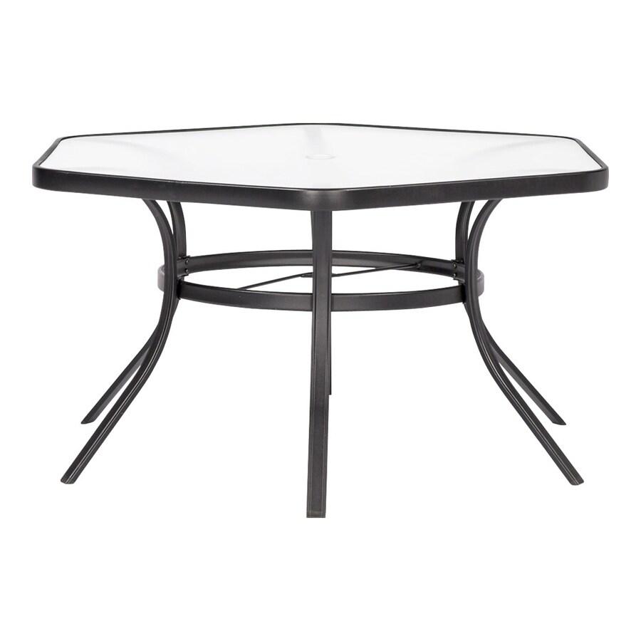 garden treasures pelham bay hexagon outdoor dining table 50 in w x 56 in l with umbrella hole