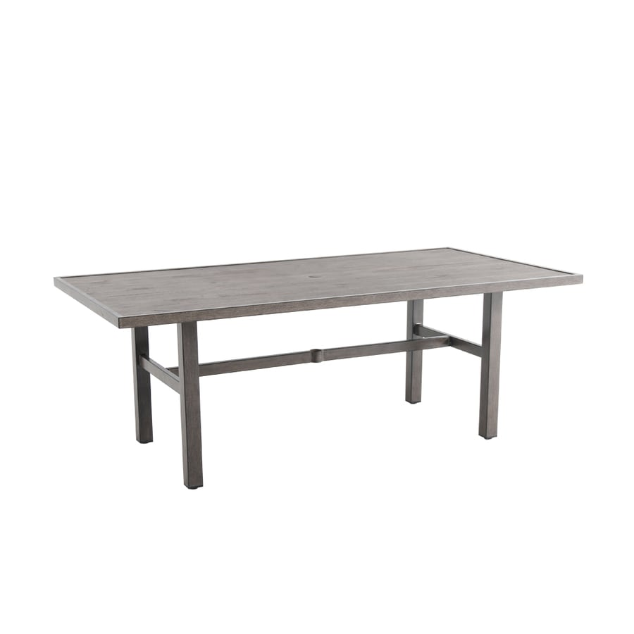 allen roth riverchase rectangle outdoor dining table 40 in w x 77 95 in l with umbrella hole