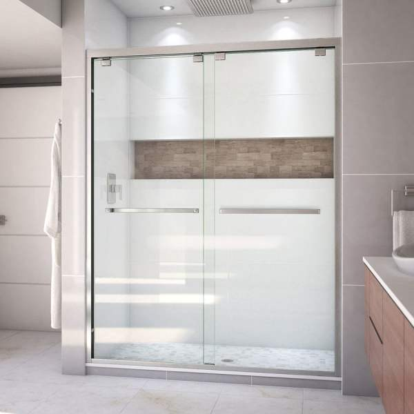 Shop Shower Doors at Lowes com DreamLine Encore 56 in to 60 in W Semi frameless Brushed Nickel Bypass