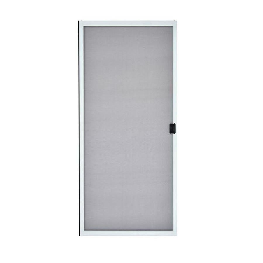 grisham 30 in x 80 in white steel frame sliding screen door lowes com