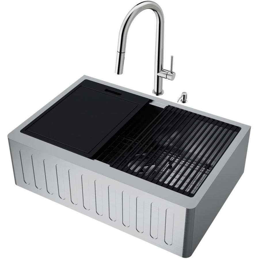 vigo oxford farmhouse apron front 30 in x 20 5 in stainless steel single bowl workstation kitchen sink all in one kit