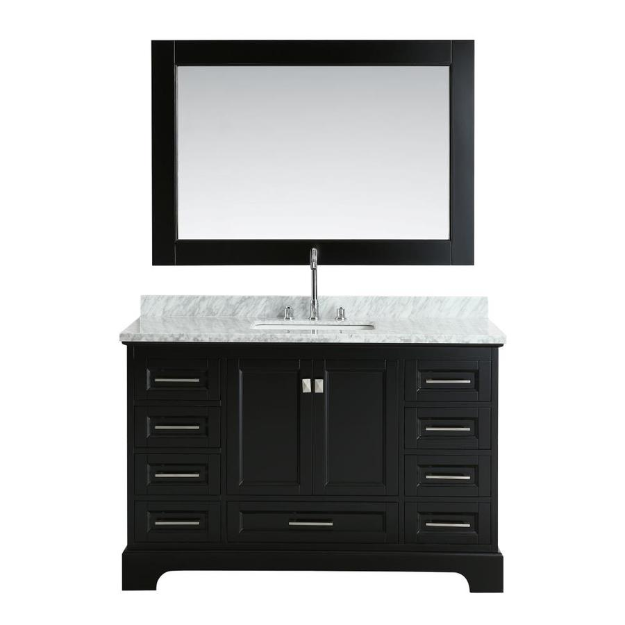 design element omega espresso single sink vanity with white marble top common 54
