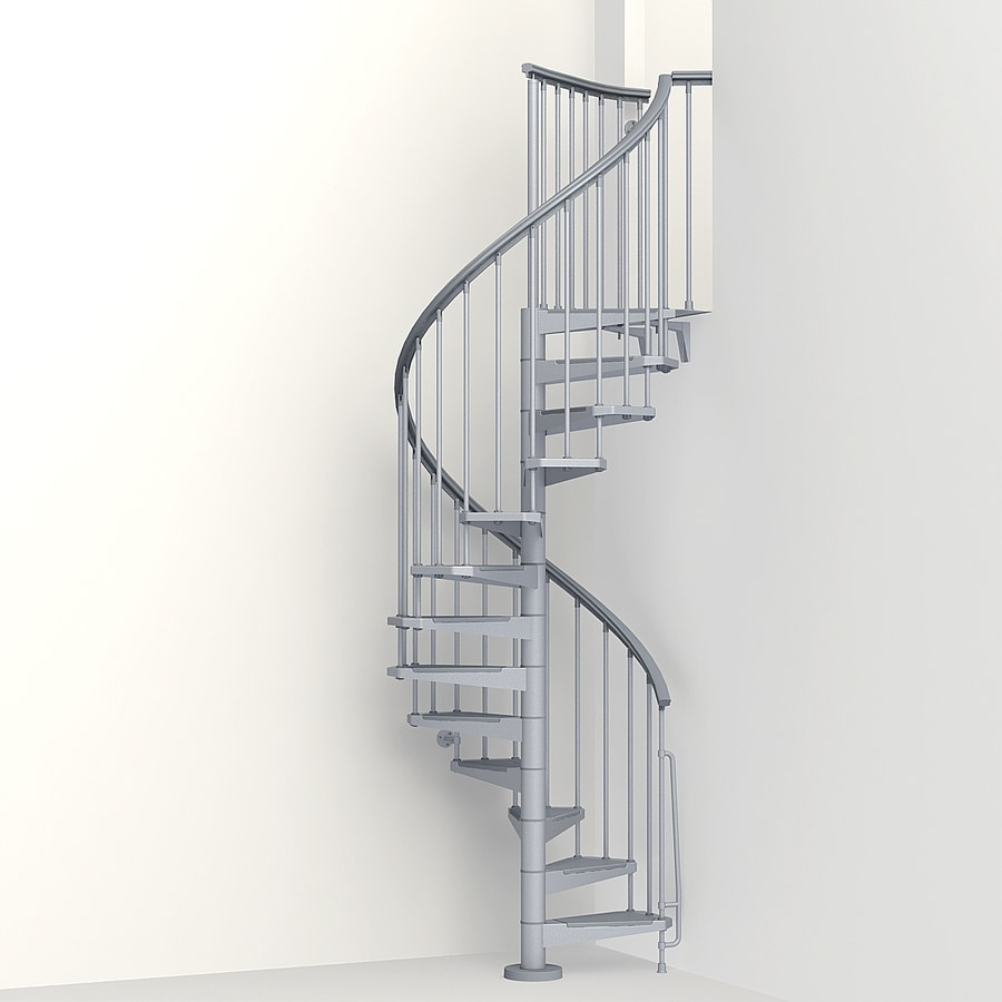 Shop Arke Eureka 47 In X 10 Ft Gray Spiral Staircase Kit | Spiral Staircase 10 Feet
