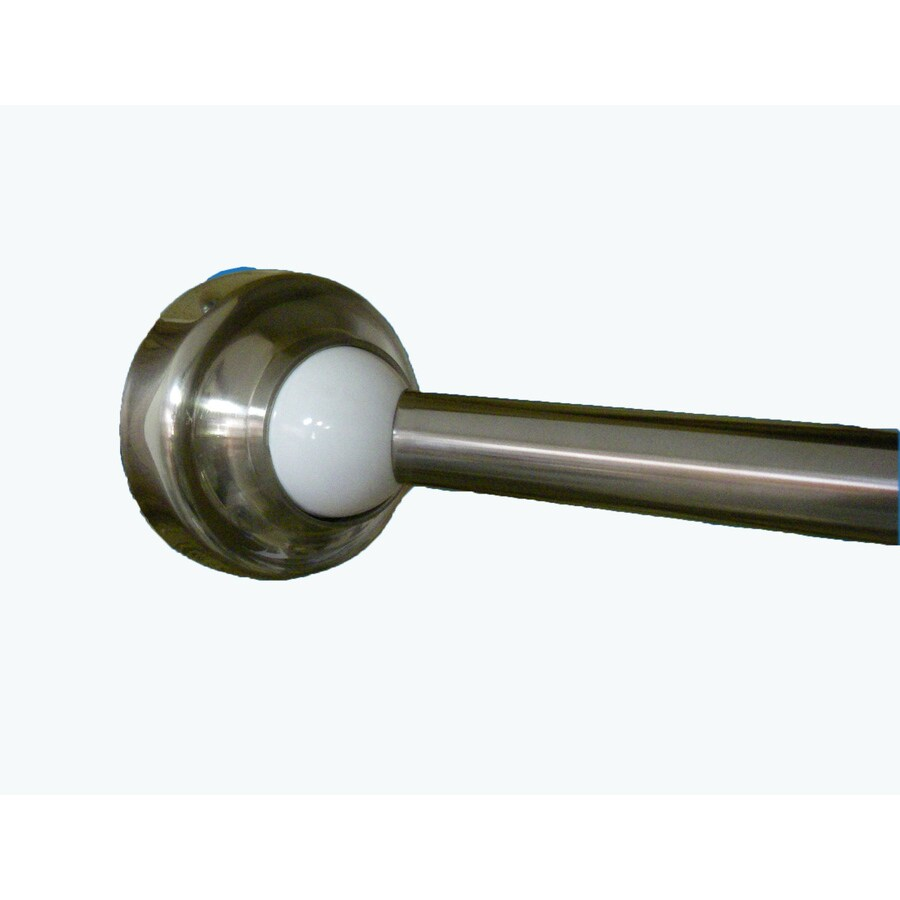 rotator rod 58 60 in brushed nickel with cap and white accent curved adjustable single shower curtain rod