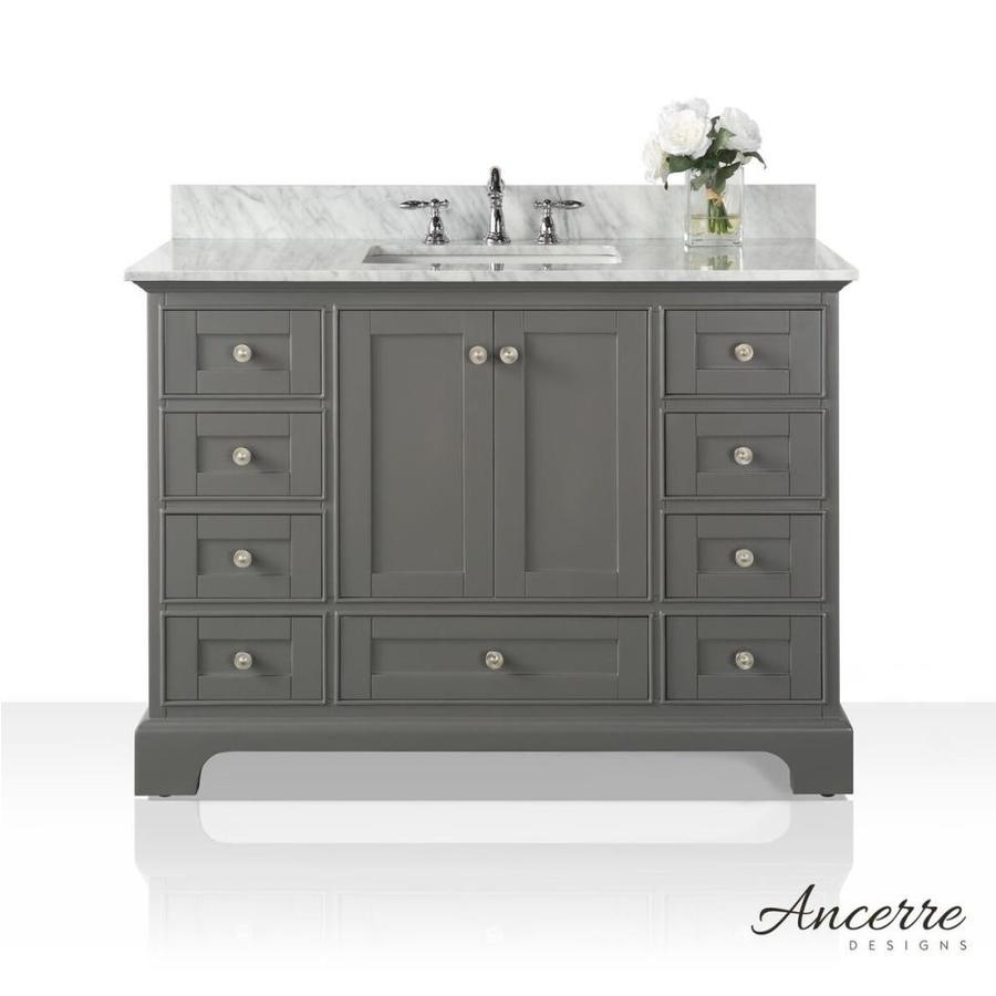 ancerre designs audrey 48 in sapphire gray single sink bathroom vanity with white natural marble top