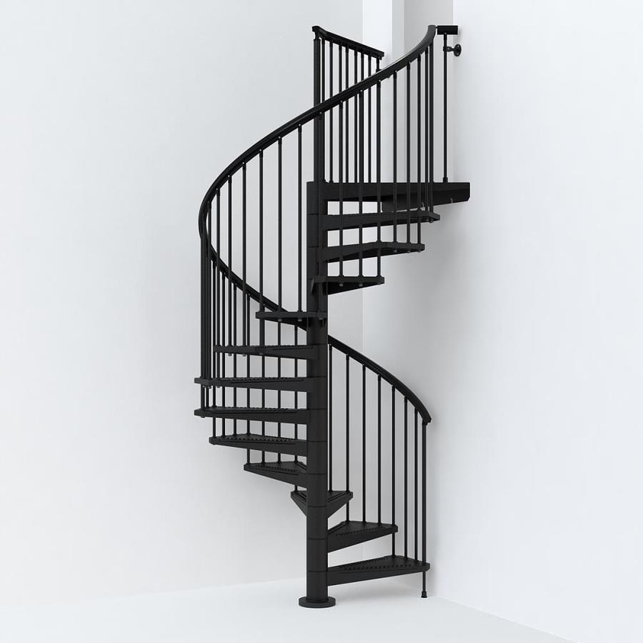 Arke Sky030 63 In X 10 Ft Black Spiral Staircase Kit In The   10 Ft Spiral Staircase   Arke Eureka   Balcony Railing   Lowes   Gray Interior   Attic Staircase