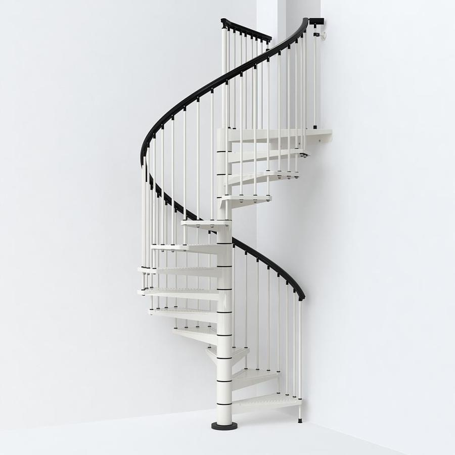 Arke Sky030 63 In X 10 Ft White Spiral Staircase Kit At | Spiral Staircase 10 Feet