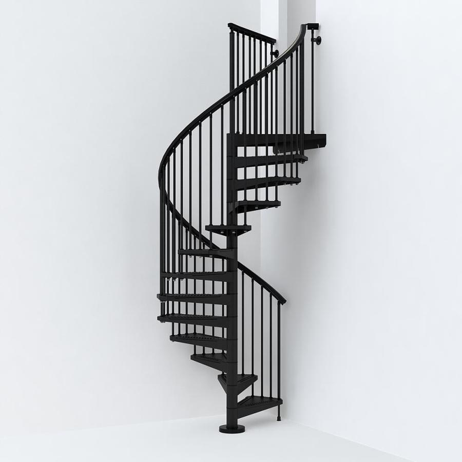 Arke Sky030 55 In X 10 Ft Black Spiral Staircase Kit In The | Replacement Handrail For Spiral Staircase | Staircase Kits | Floating Staircase | Modern Staircase Design | Staircase Ideas | Steel