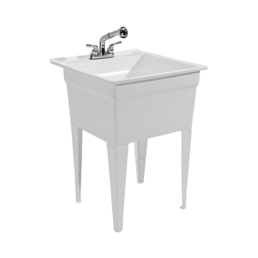 cashel 23 75 in x 24 75 in 1 basin white freestanding laundry sink with drain and faucet lowes com