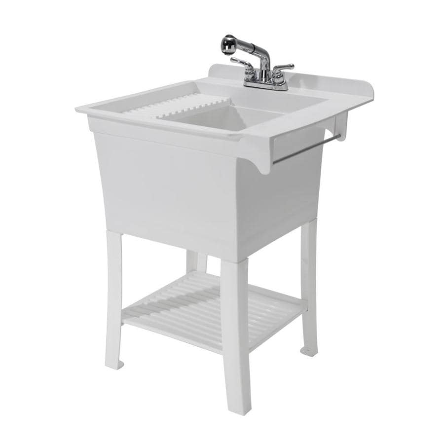 cashel 25 375 in x 25 75 in 1 basin white freestanding laundry sink with drain and faucet