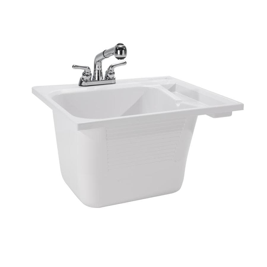 cashel 25 in x 22 in 1 basin white self rimming utility tub with drain and faucet