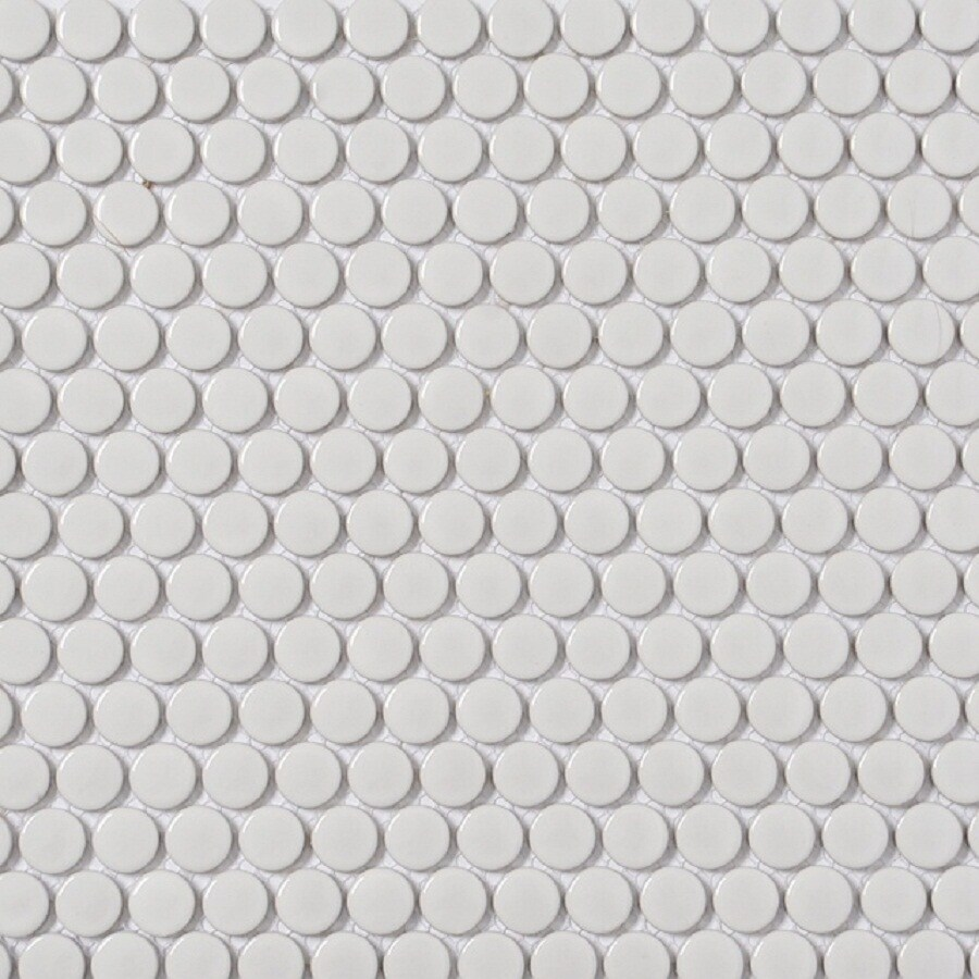 style selections white 11 in x 13 in glazed porcelain penny round mosaic wall tile lowes com