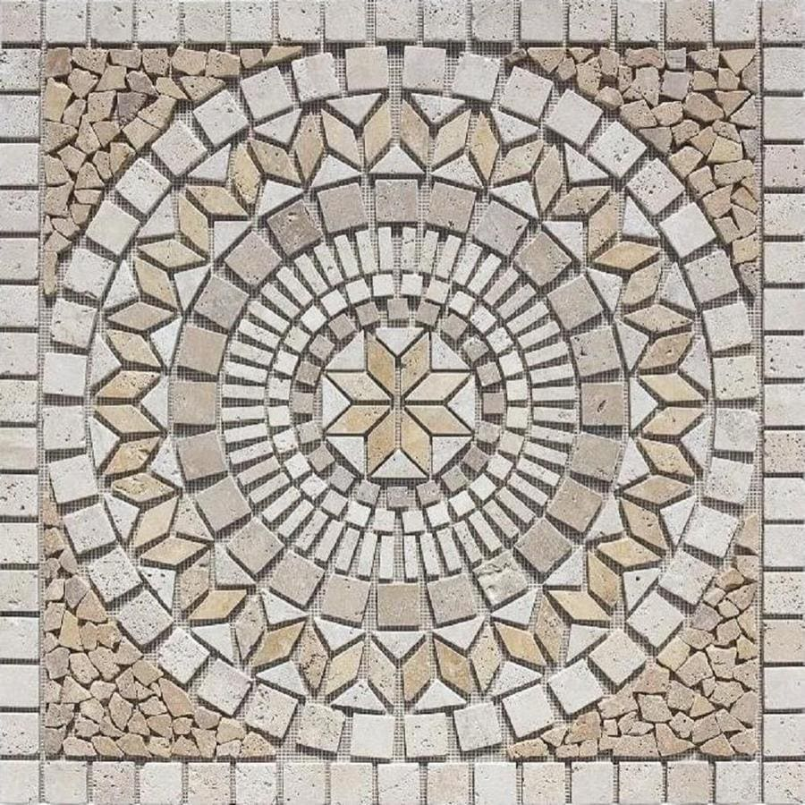 style selections medallions multi colored 36 in x 36 in mosaic travertine cobblestone floor tile common 36 in x 36 in actual 35 75 in x 35 75 in