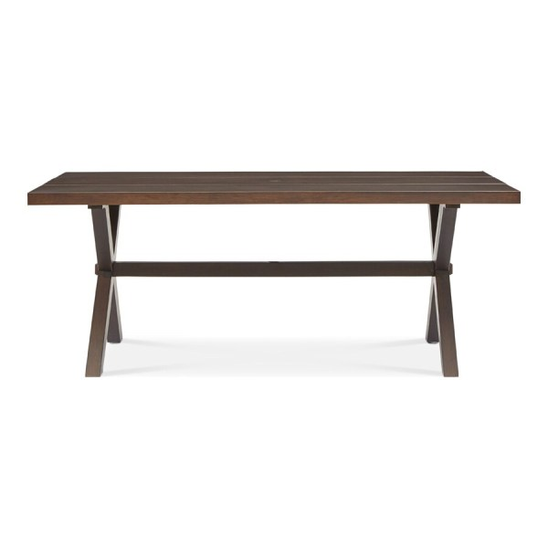 Shop Patio Tables at Lowes com allen   roth Atworth 42 in W x 76 in L Rectangle Aluminum Dining