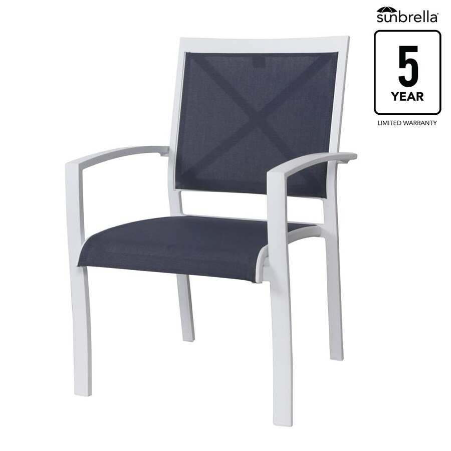 allen roth everchase set of 4 stackable white metal frame stationary dining chair s with solid blue sunbrella sling seat