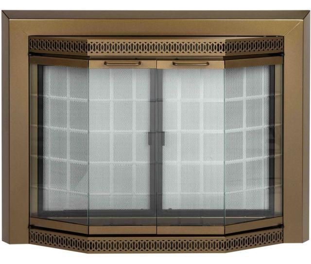 Pleasant Hearth Grandior Bay Antique Brass Medium Bi Fold Bay Fireplace Doors With Clear Tempered