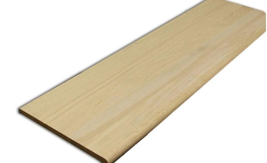 Wood Stair Treads At Lowes Com   Solid Wood Steps For Stairs   Staircase   Iron Rod   Oak Veneer   Rounded   Stained