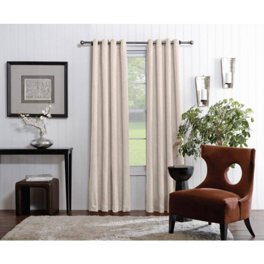 allen roth 63 in ivory polyester light filtering grommet single curtain panel