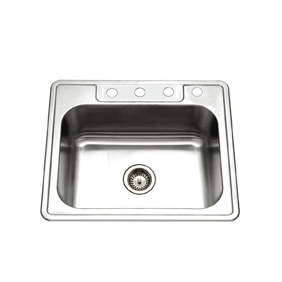 houzer glowtone drop in 22 in x 25 in stainless steel single bowl 4 hole kitchen sink lowes com