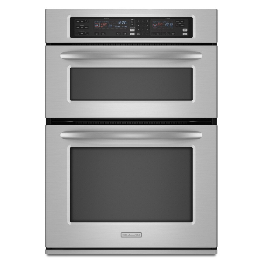 kitchenaid 30 in self cleaning convection european element microwave wall oven combo stainless steel