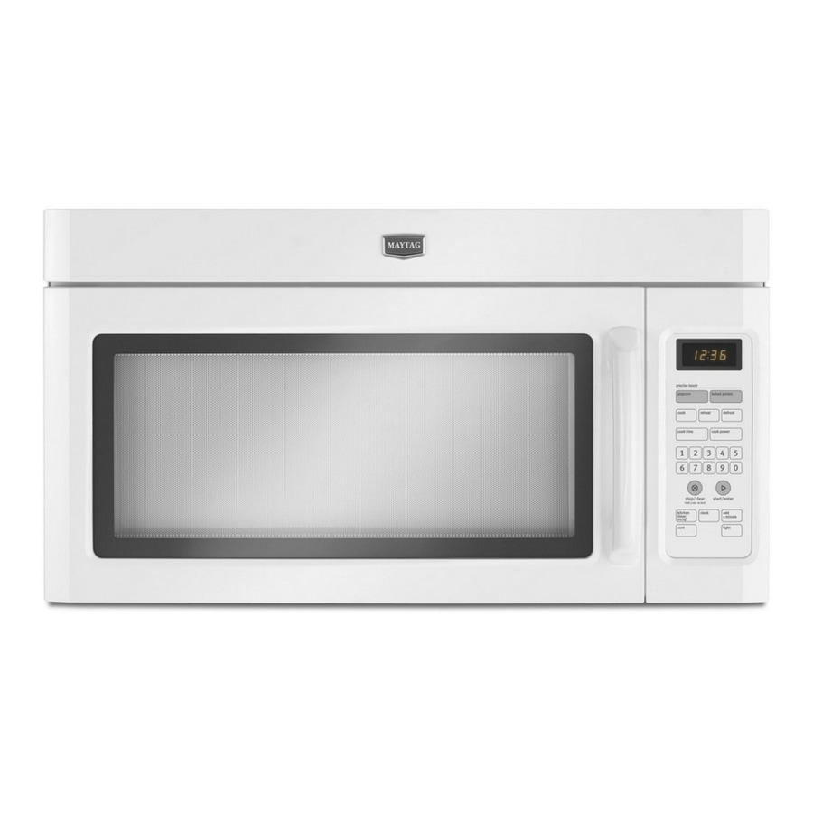 maytag 1 6 cu ft over the range microwave with sensor cooking controls white