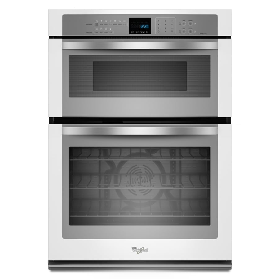 whirlpool self cleaning with steam microwave wall oven combo white with silver handle common 30 in actual 30 in