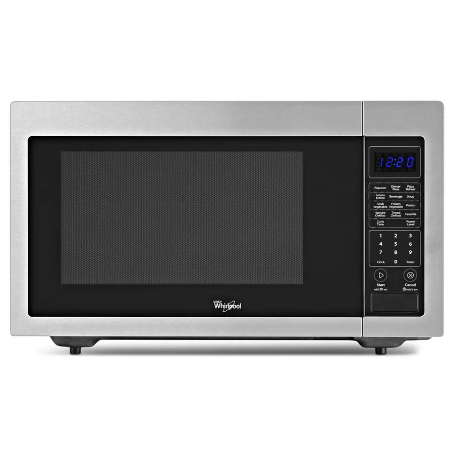 whirlpool 1 6 cu ft 1200 watt countertop microwave stainless steel lowes com