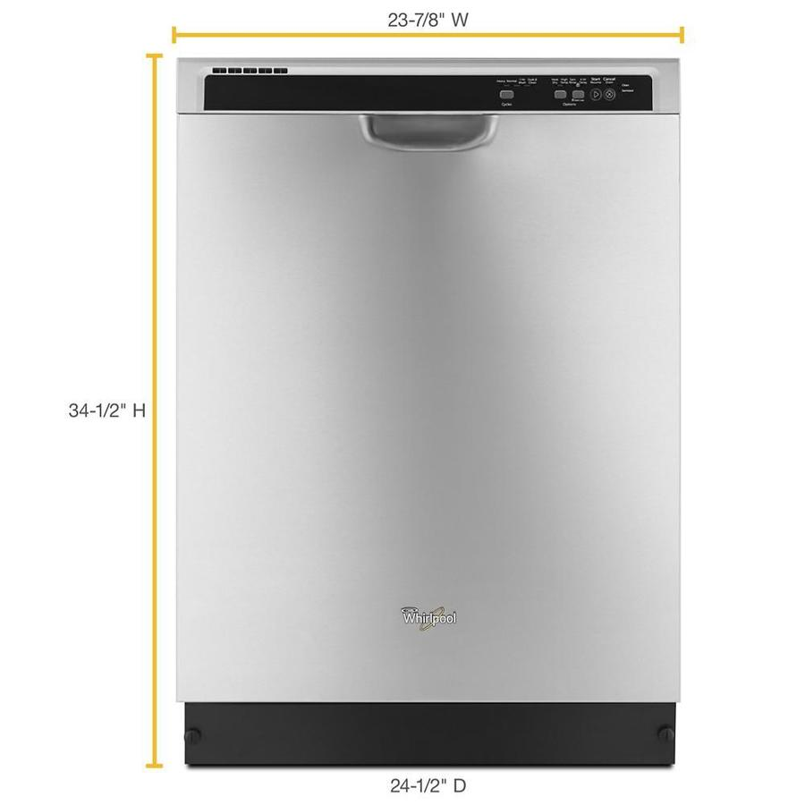 whirlpool 55 decibel front control 24 in built in dishwasher monochromatic stainless steel energy star in the built in dishwashers department at lowes com
