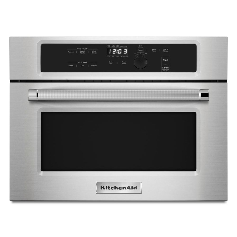 kitchenaid 1 4 cu ft built in microwave with sensor cooking controls stainless steel lowes com