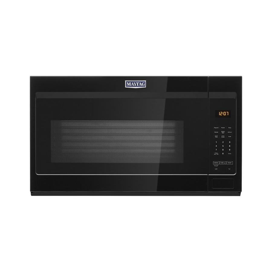 maytag 1 9 cu ft over the range microwave with stainless steel cavity black lowes com
