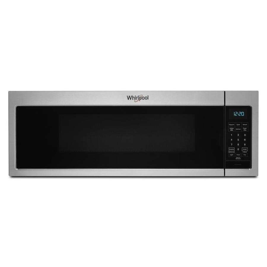 whirlpool 1 1 cu ft low profile over the range microwave stainless steel