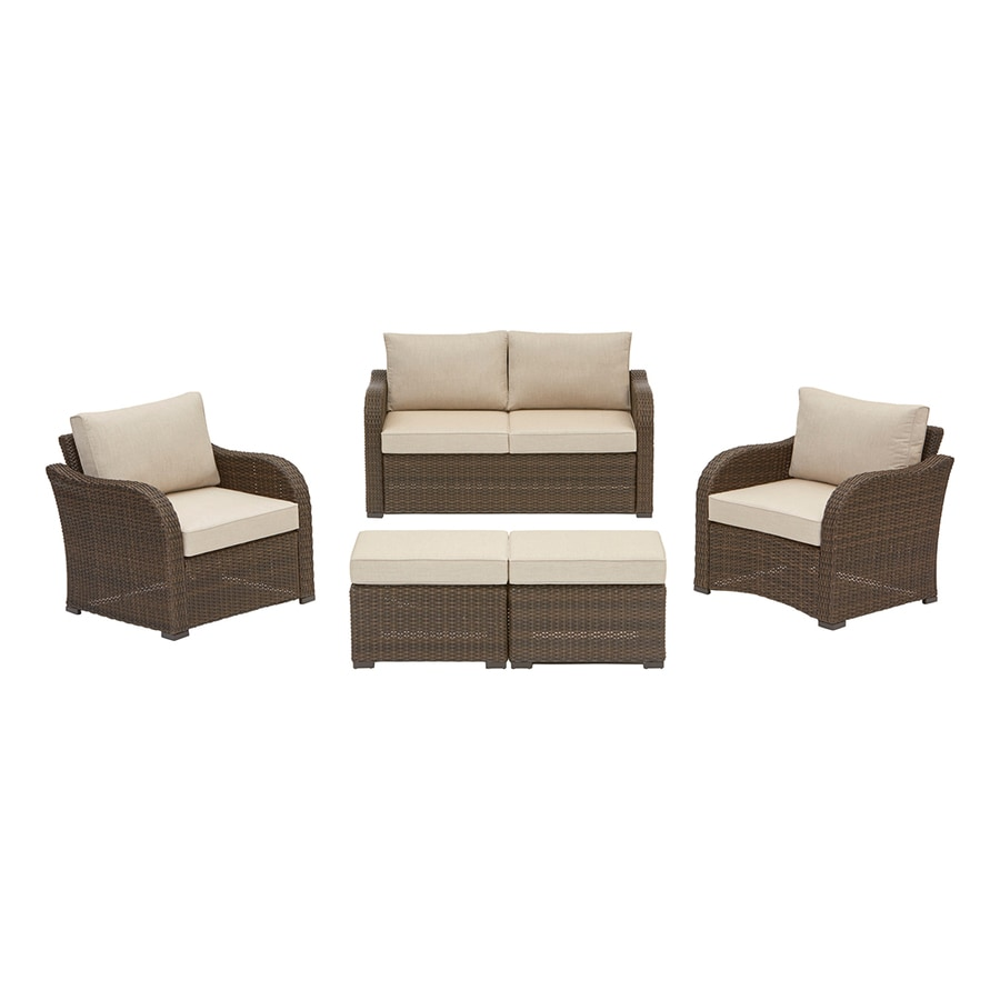 allen roth northborough 5 piece metal frame patio conversation set with sunbrella cushion s included