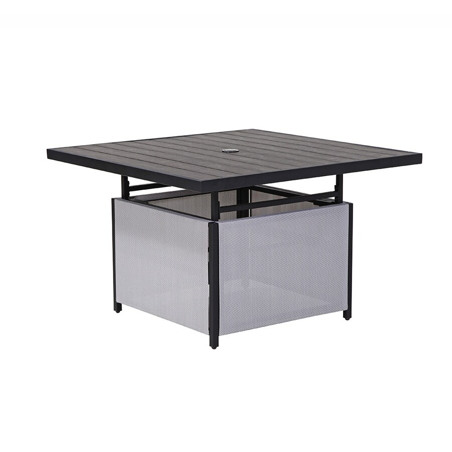 style selections easton park square outdoor coffee table 41 in w x 41 in l with umbrella hole
