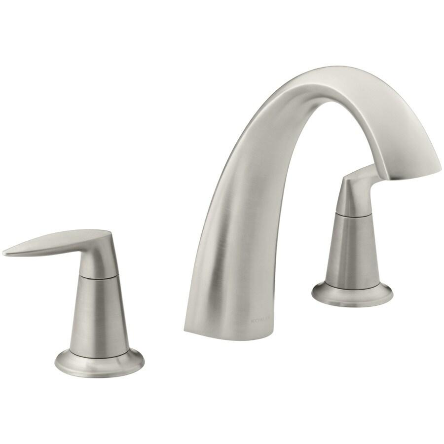 kohler alteo vibrant brushed nickel 2 handle commercial residential deck mount roman bathtub faucet