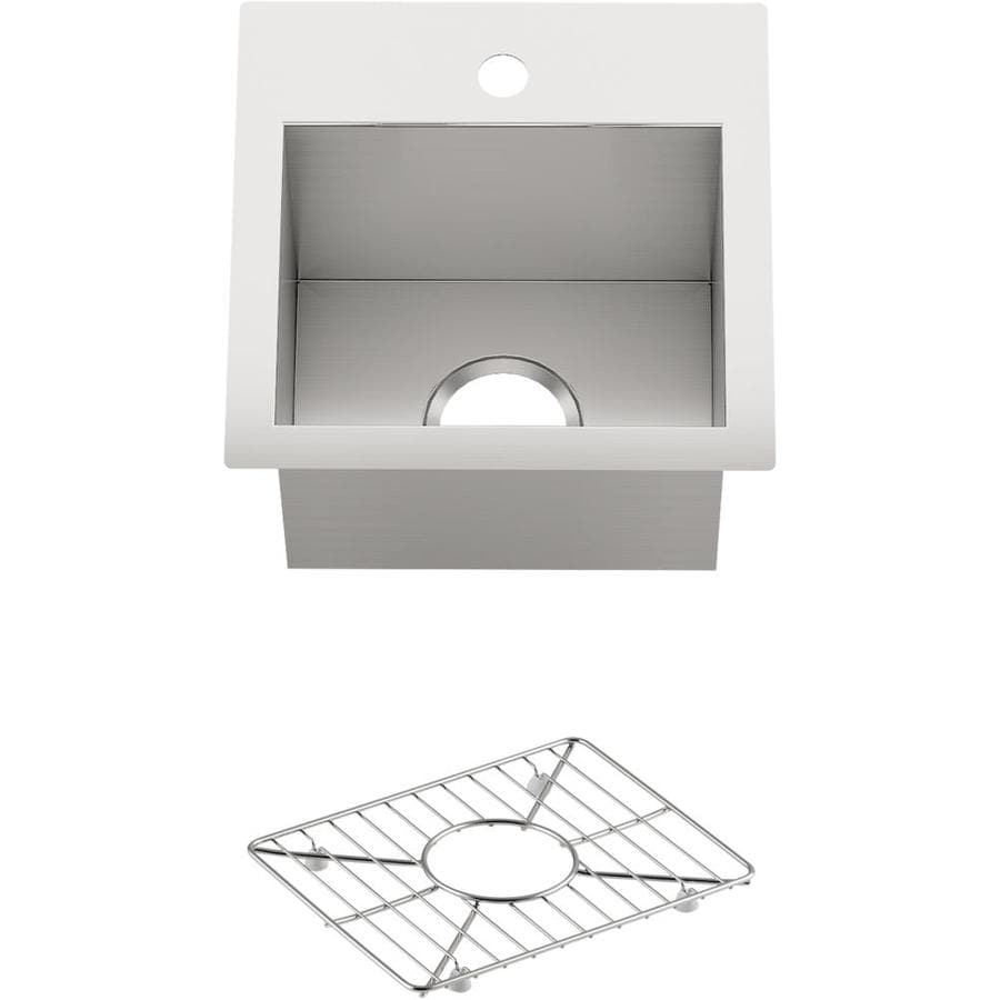 kohler vault 15 in l x 15 in w stainless steel 1 hole stainless steel commercial residential bar sink