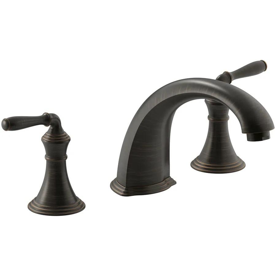 kohler devonshire oil rubbed bronze 2 handle commercial residential deck mount roman bathtub faucet