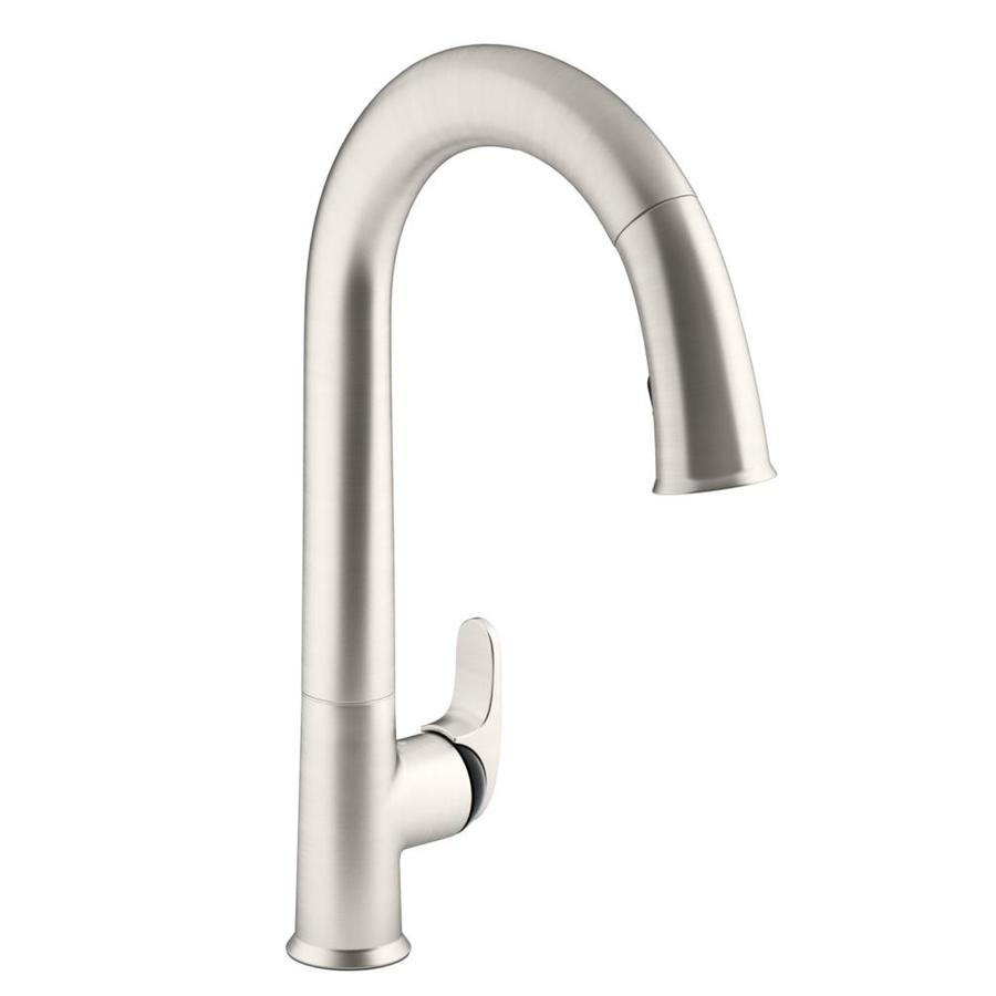 kohler sensate vibrant stainless 1 handle deck mount pull down handle kitchen faucet lowes com