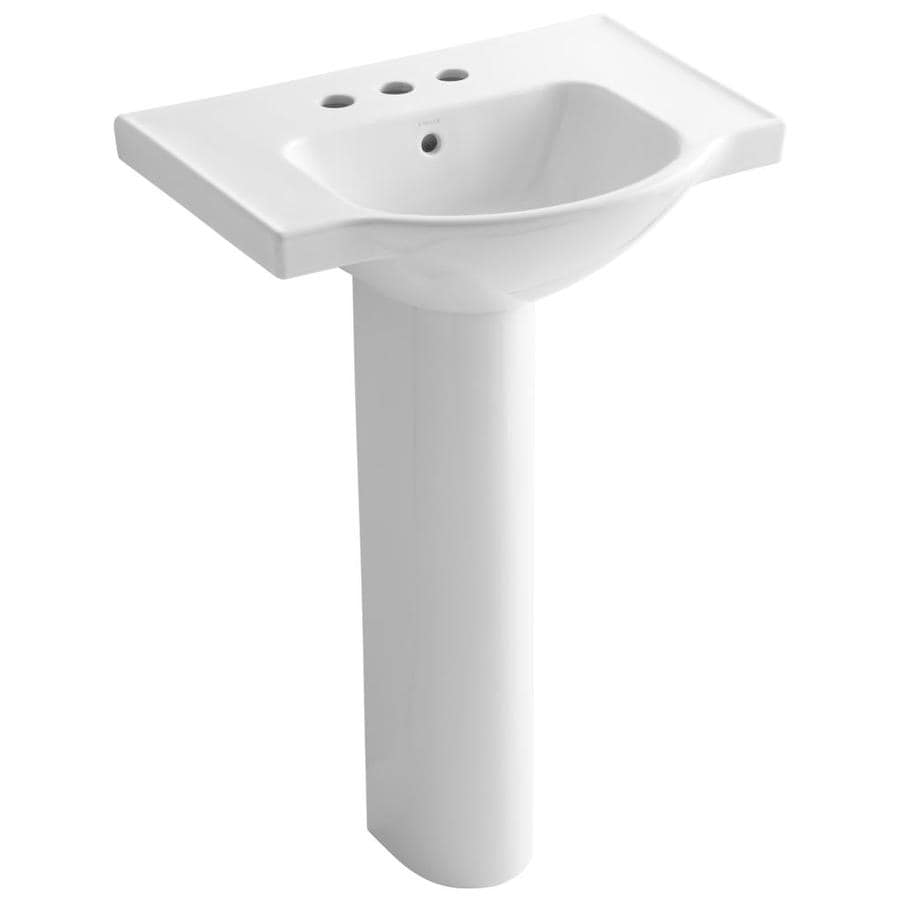 kohler veer 35 5 in h white vitreous china pedestal sink combo in the pedestal sinks department at lowes com