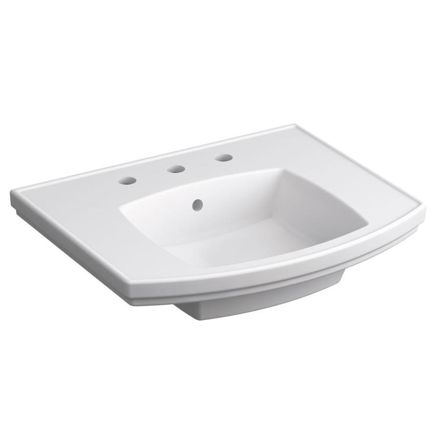 kohler elliston 6 9375 in h white vitreous china pedestal sink top