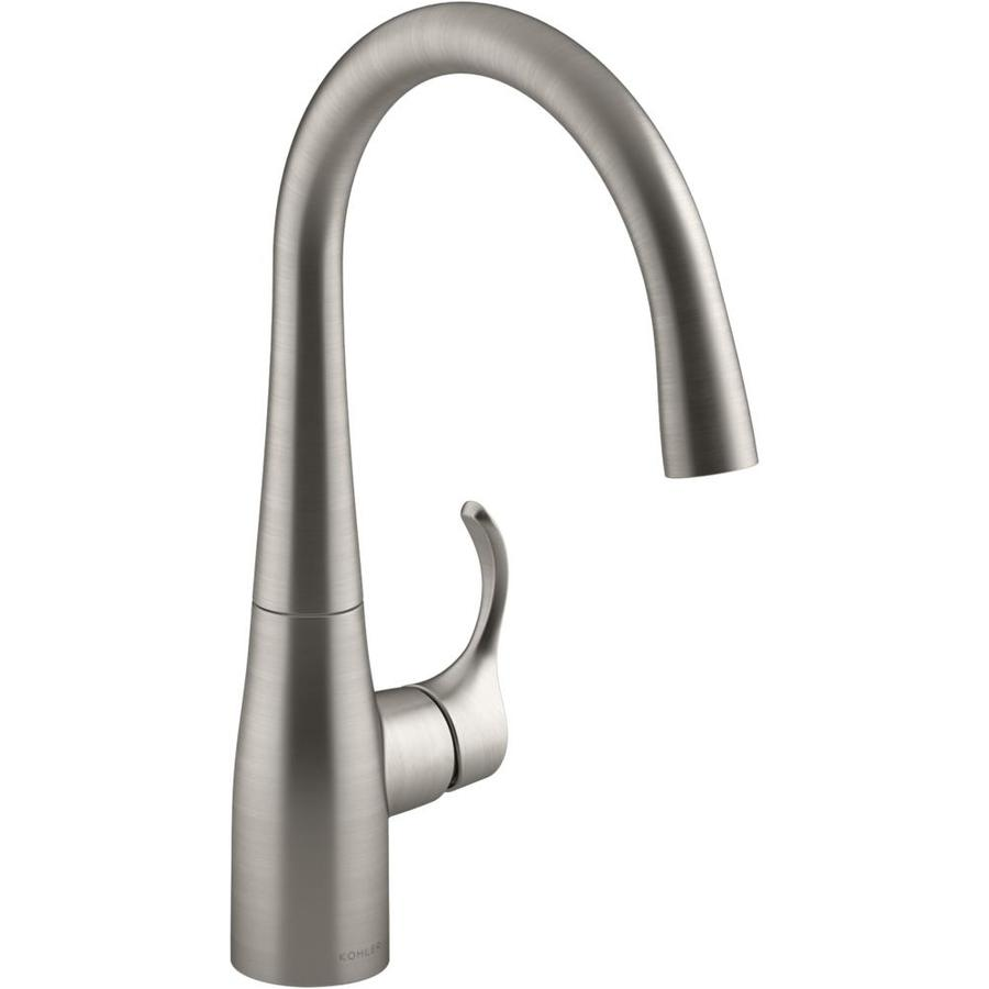 kohler simplice vibrant stainless 1 handle deck mount high arc handle kitchen faucet