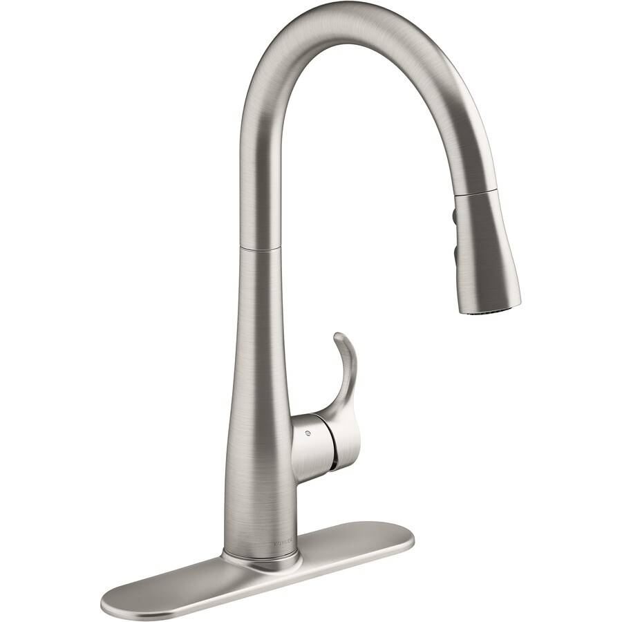 kohler simplice vibrant stainless 1 handle deck mount high arc touchless kitchen faucet deck plate included